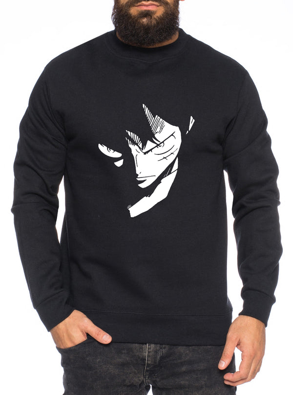 Ruffy Face Zorro One Manga Herren Sweatshirt Ruffy Anime Piece