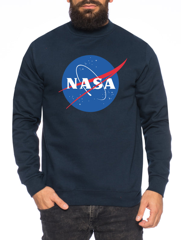 NASA Logo Herren Sweatshirt Astronaut Space Rocket Moon