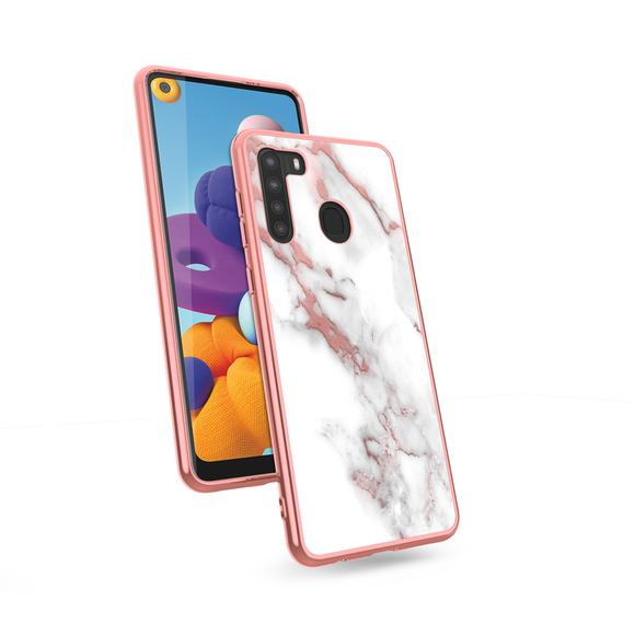 SAMSUNG GALAXY A21 CASE - ROSE GOLD MARBLE ZIZO REFINE SERIES