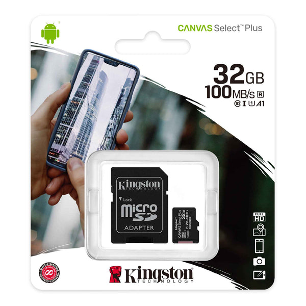 KINGSTON CANVAS SELECT PLUS SD CARD 32 GB + Adapter