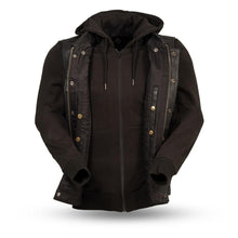 Load image into Gallery viewer, Kent - Men's Motorcycle Leather Vest with Sweatshirt