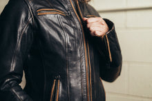 Load image into Gallery viewer, Electra - Women's Leather Motorcycle Jacket-FS