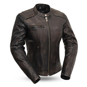 Trickster - Women's Leather Motorcycle Jacket-FS