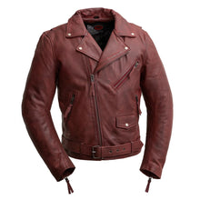 Load image into Gallery viewer, Fillmore - Men's Leather Motorcycle Jacket (Oxblood)-FS