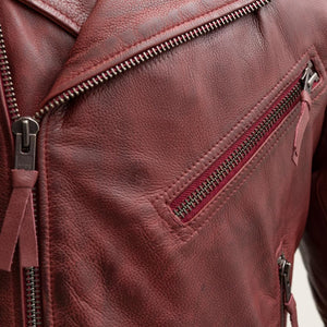 Fillmore - Men's Leather Motorcycle Jacket (Oxblood)-FS