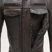 Load image into Gallery viewer, The Raider - Men's Motorcycle Leather Jacket (Copper)