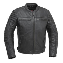 Load image into Gallery viewer, Commuter - Men's Motorcycle Leather Jacket (Black)-FS