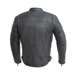 Commuter - Men's Motorcycle Leather Jacket (Black)-FS