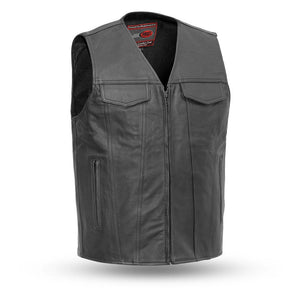 Badlands - Leather Motorcycle Vest-FS