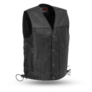 Gambler - Men's Leather Motorcycle Vest-FS