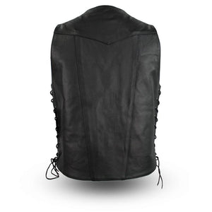 The Top Biller - Men's Motorcycle Western Style Leather Vest