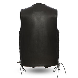 The Deadwood - Men's Motorcycle Western Style Leather Vest