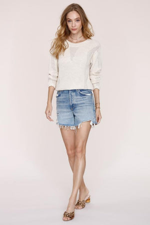 Elke Pointelle Stitch Sweater-Ivory