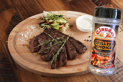 Steak grilled with Claude's Grillers Choice