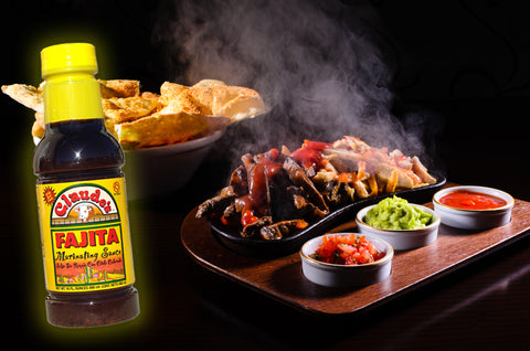 Claude's Fajita Marinade and a platter of Texas style fajitas