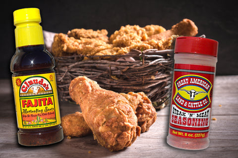 Claude's Fajita Marinade and Great American Steak and Meat seasoning with fried chicken