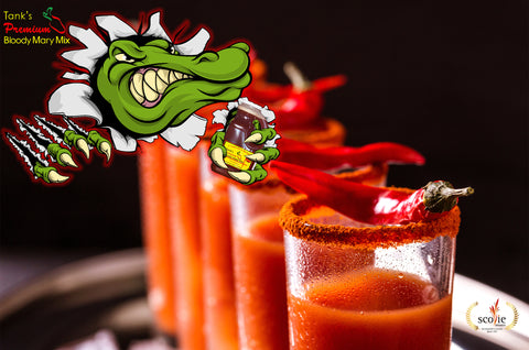 Cartoon alligator holding a 64 oz. bottle of Tanks overtop a row of spicy bloody mary drinks