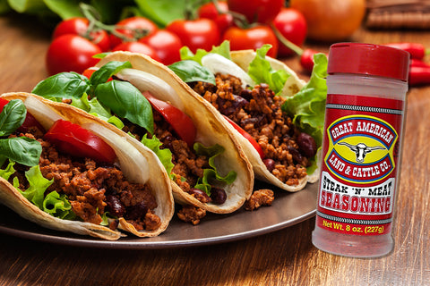 Taco's prepared with Great American Steak and Meat Seasoning