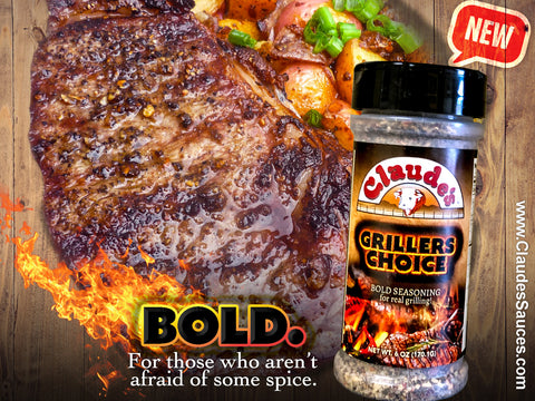 Claude's Grillers Choice seasoning on a steak