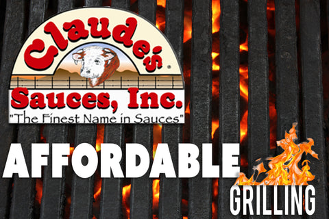 Claude's Sauces logo on grill with 'affordable grilling' in text