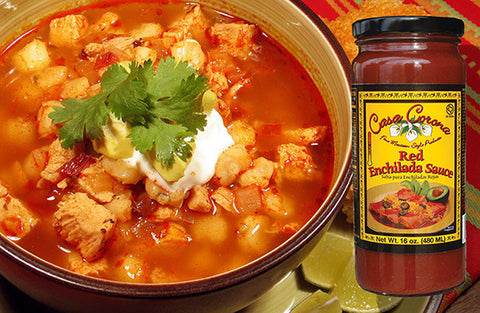 Casa Corona Red Enchilada Sauce and pork pozole