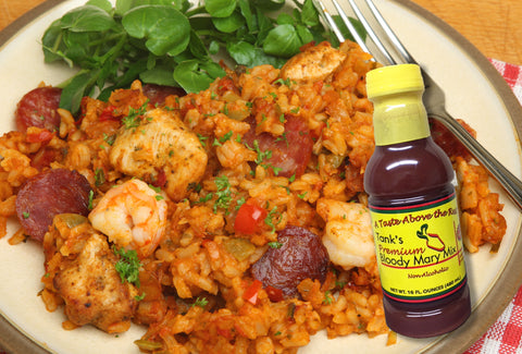 Tank's Bloody Mary Cocktail Mix is the perfect addition to this Jambalaya recipe