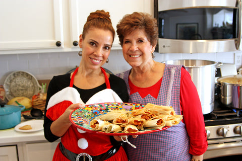 Muy Bueno Cookbook author Yvette Marquez Sharpnack cooks enchiladas with her mom