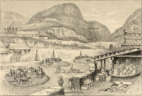 Artist rendering of silver mining in old Mexico