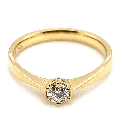 Ring Solitär 0,20 ct 750/- Gelbgold Brillant