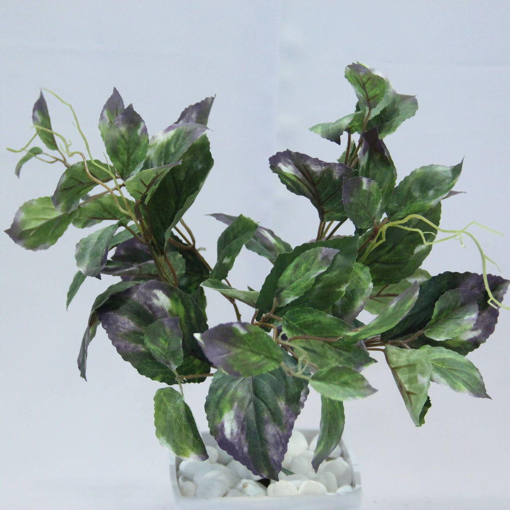 Artificial Green-Purple Coleus Bush with Black Pot (0.45m)