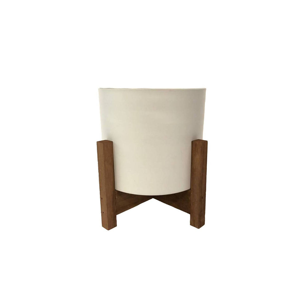 White Metal Pot with Wooden Stand