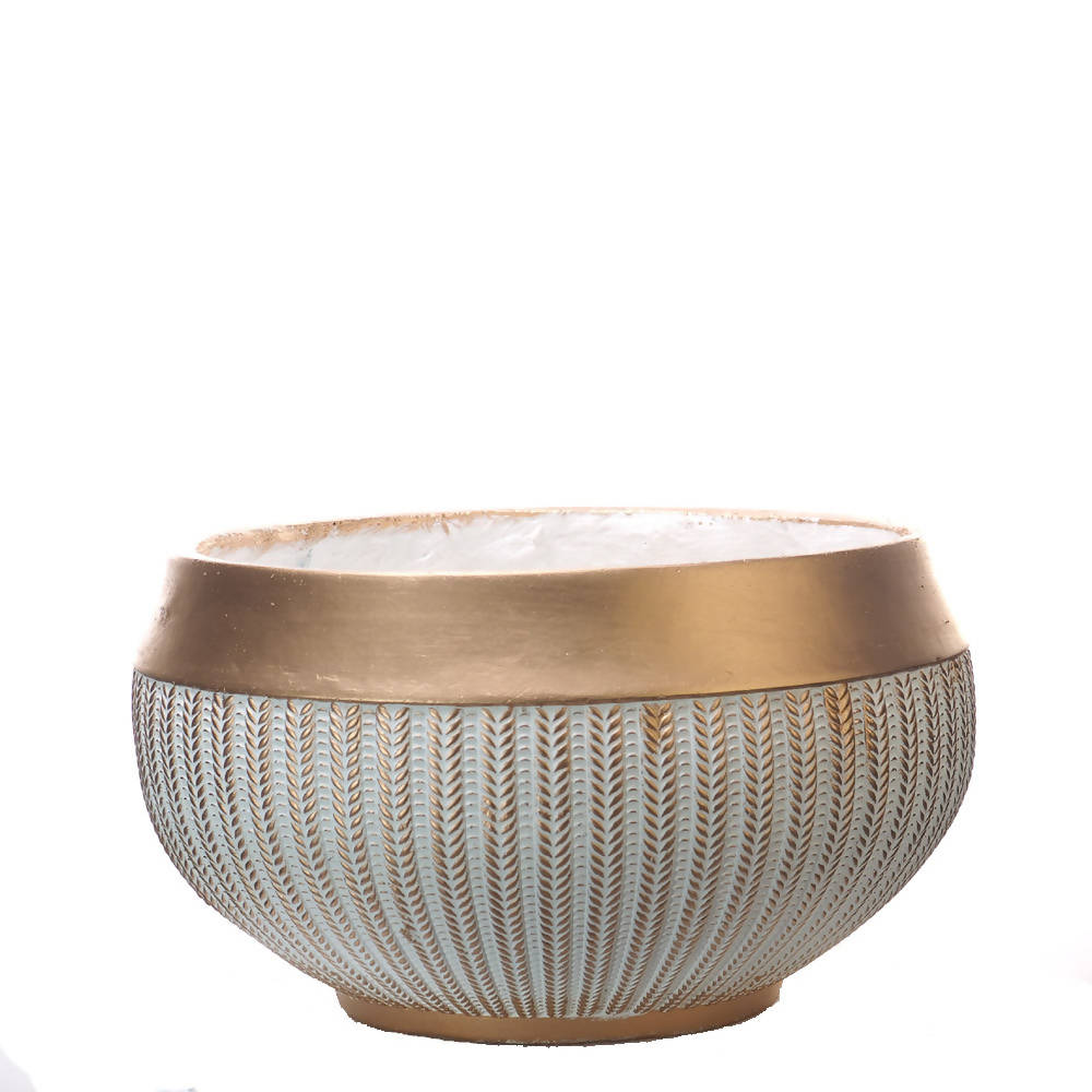 Pot Mtall Bellied Cup Engraved Gold Fringe Fiber Clay White