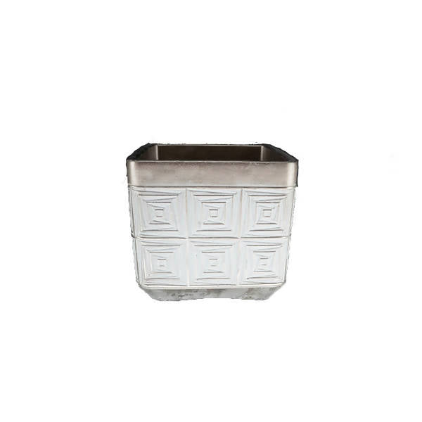 White Ceramic Pot with Square Champagne Design
