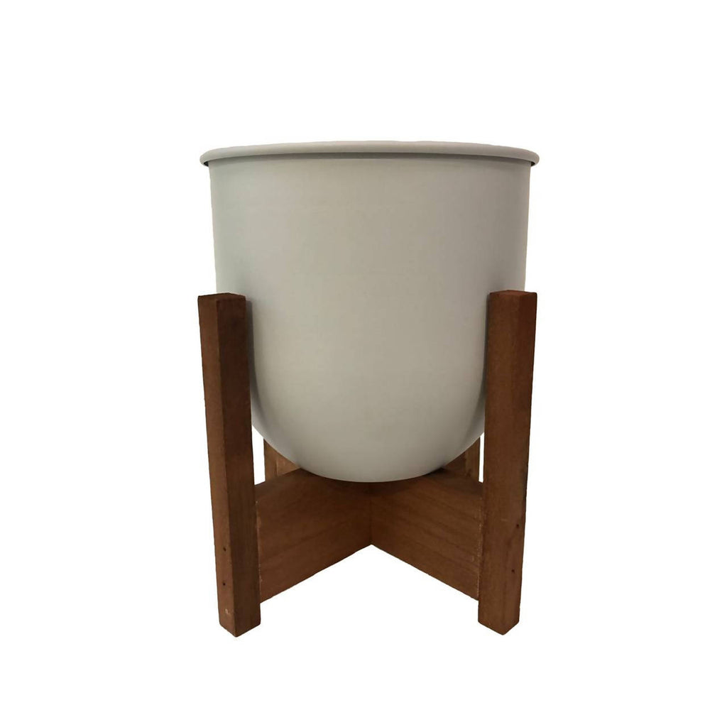 White Curved Base Metal Pot with Wooden Stand
