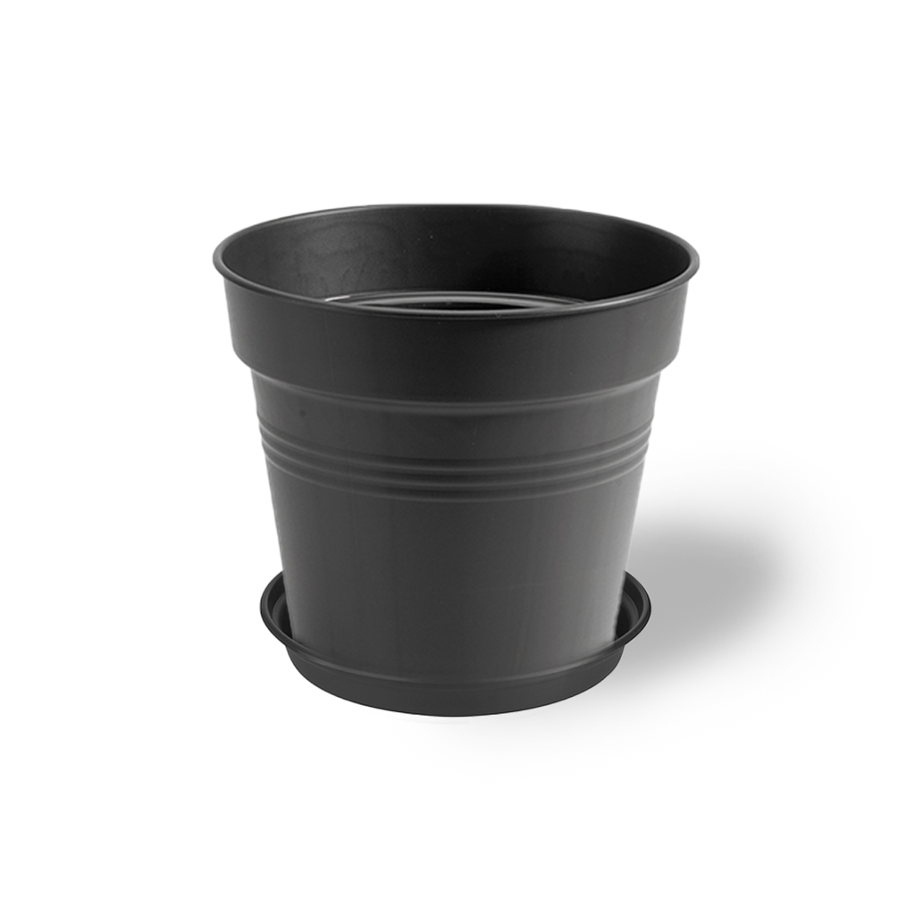 Green Basics Growpot 30cm in Living Black with 25cm Saucer