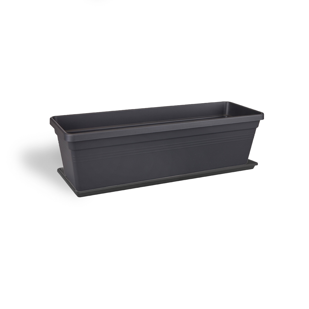 Green Basics Trough 60cm in Living Black with saucer