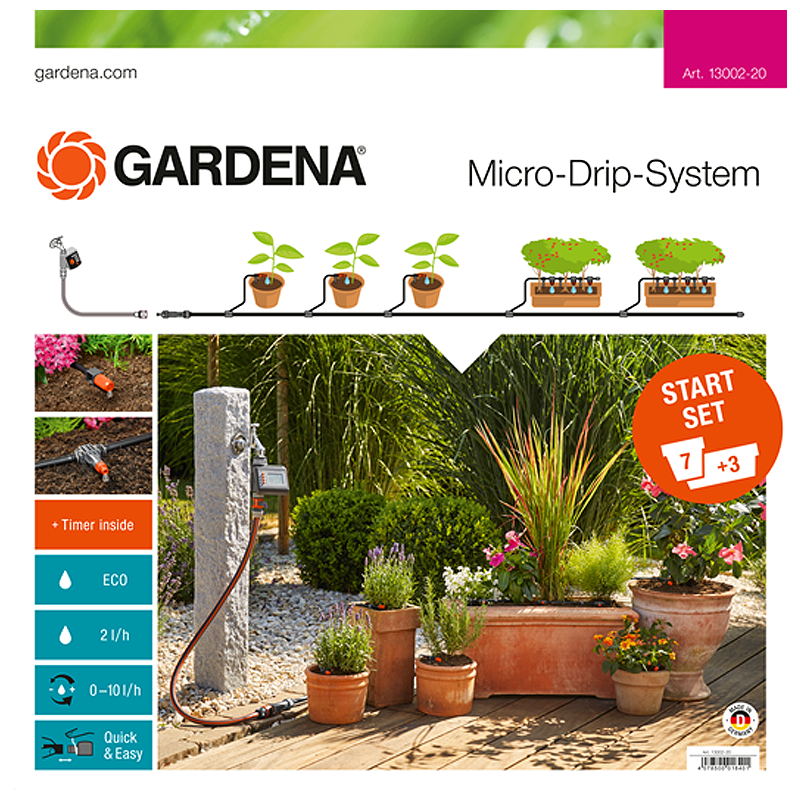 GARDENA Micro-Drip-System Starter Set Flower Pots M automatic (with water computer) G-13002