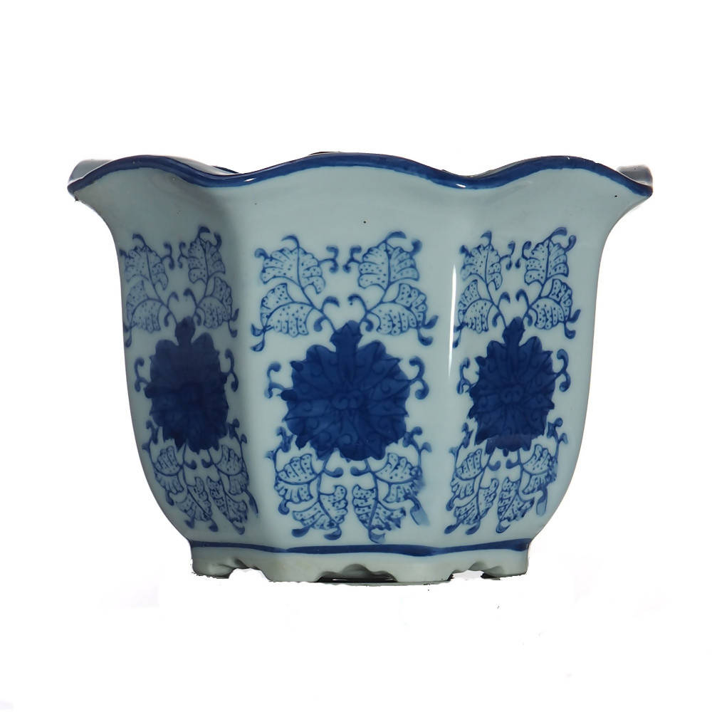Pot Single Hexagon Blue and White Petal