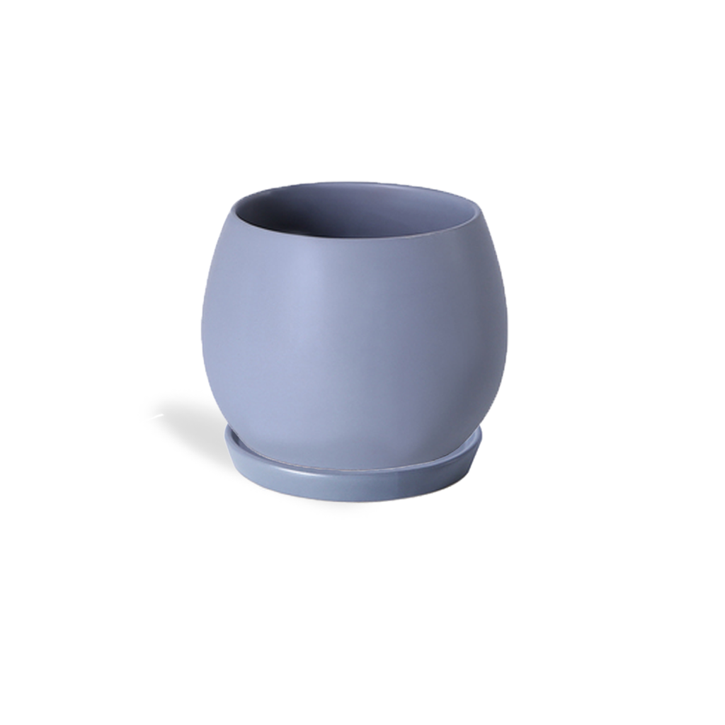Matt Spherical Pot in Steel Blue