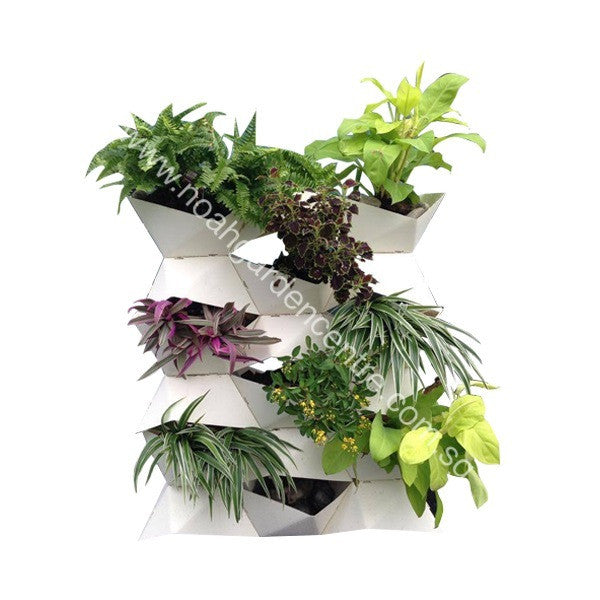 Prai Origami Vase with Plants (A) in White