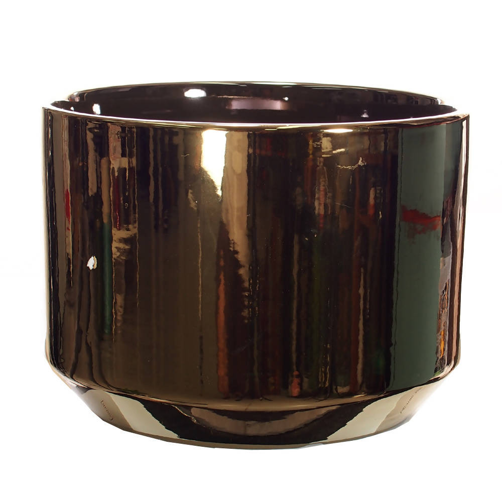 Pot Mtall Cylindrical Shiny Gold