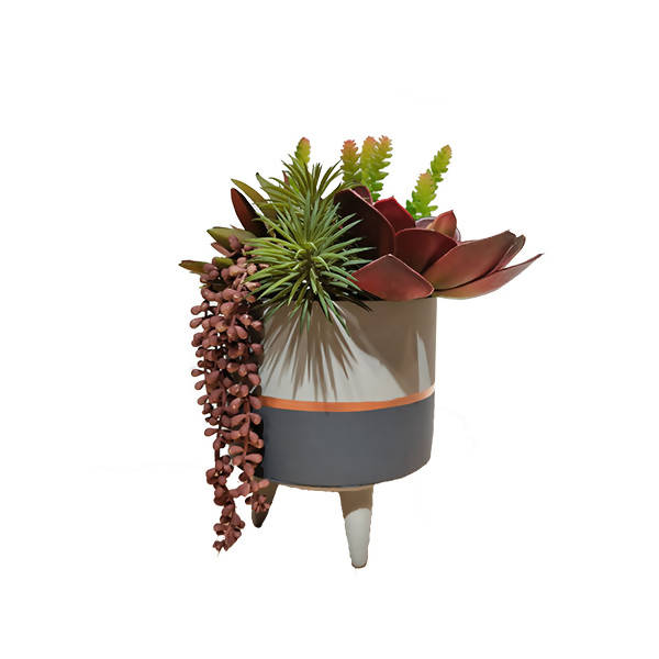 Artificial Potted Assorted Succulent with Grey Pot on Stand (0.4m)