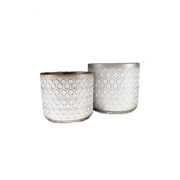 White Ceramic Pot with Hexagonal Champagne Design