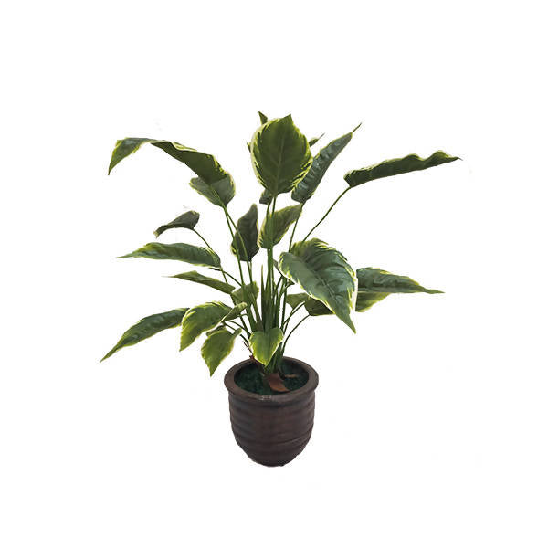 Artificial Small-Leaf Hosta Plant with Brown Pot (0.60m)