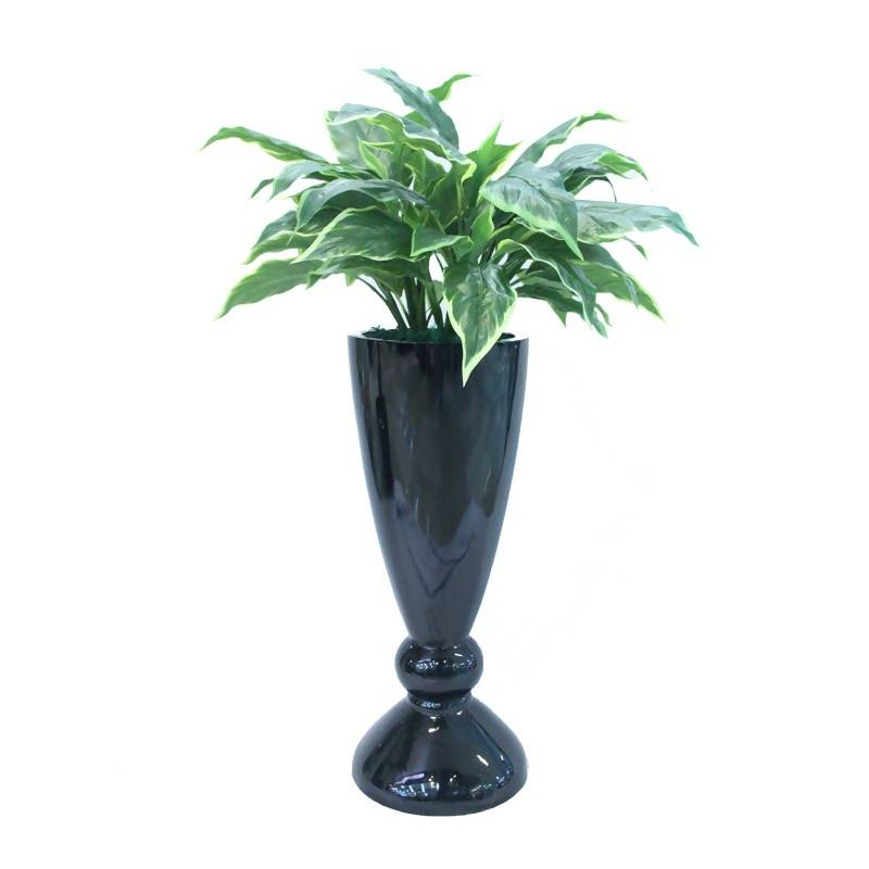 Artificial Varigated Hosta Plant with Black Pot (1.0m)