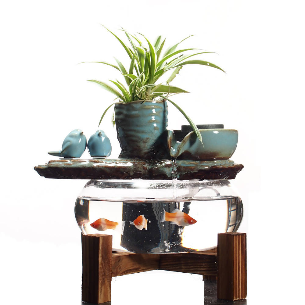 Water Feature with fish bowl and pot
