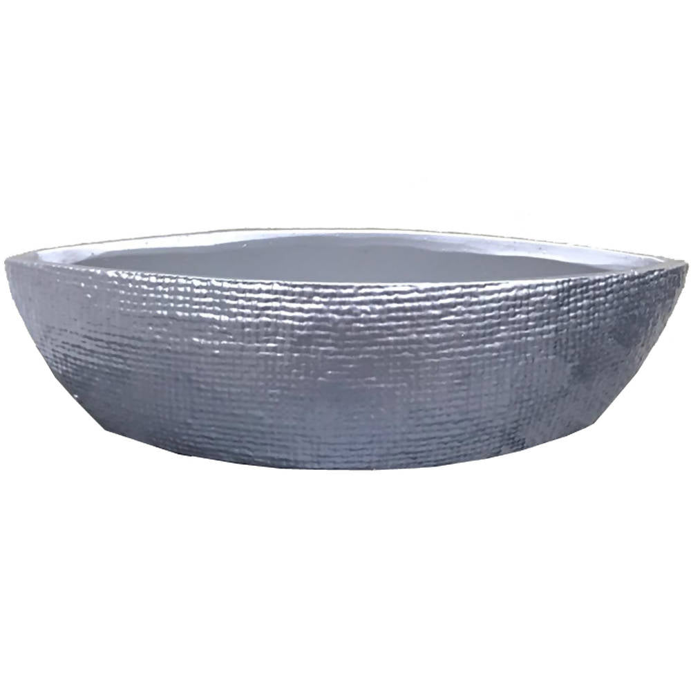 Pot Low Silver Tactile Thin Boat