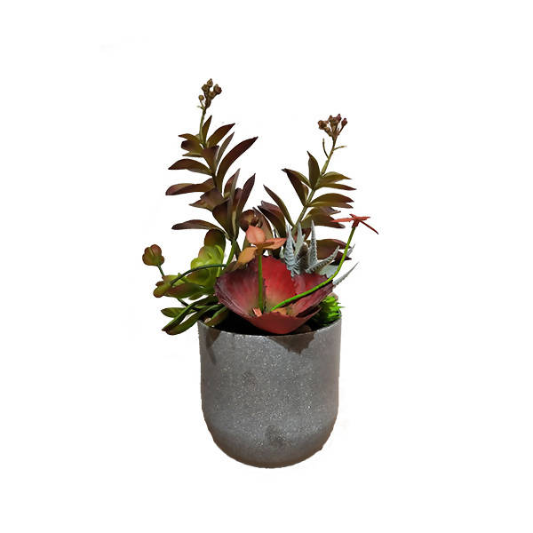 Artificial Potted Assorted Succulent with Grey Pot (0.35m)