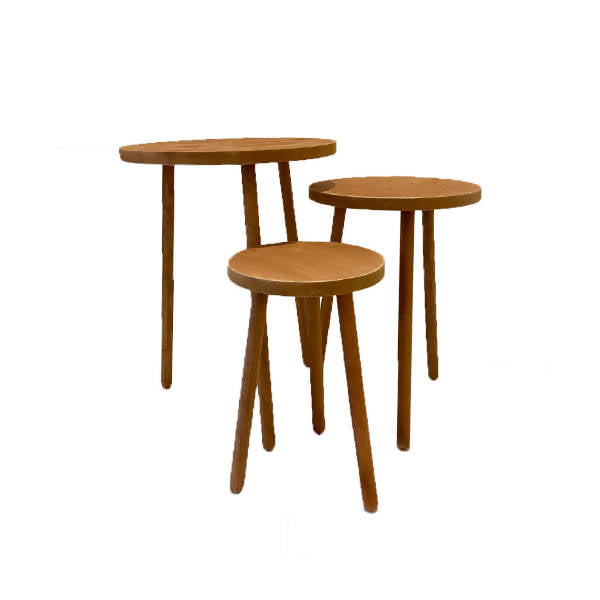3-Leg Wooden Table (Set of 3)