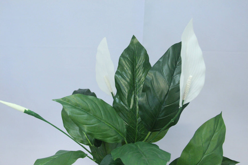 Artificial Spathiphyllum Bush with Bronze Pot (Real Touch) (1.3m)